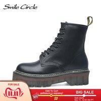 Smile диаметр окружности 35-42, не сужающийся книзу ботинки в байкерском стиле женские осенние модные армейские ботинки с круглым носком на шнур...