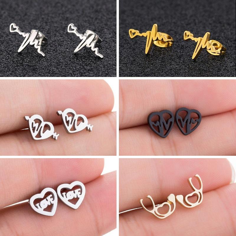 SMJEL Trendy Heart Wave Stud Earrings Black Stainless Steel Heartbeat Stethoscope Earings Women Doctor Accessories Jewelry Gift