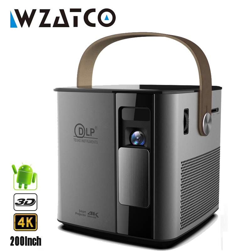 New Arrival WZATCO T12 3D Full HD 1080P 4K Projector Android WIFI HDMI USB DLP Smart Beamer Home Theater Portable Proyector image