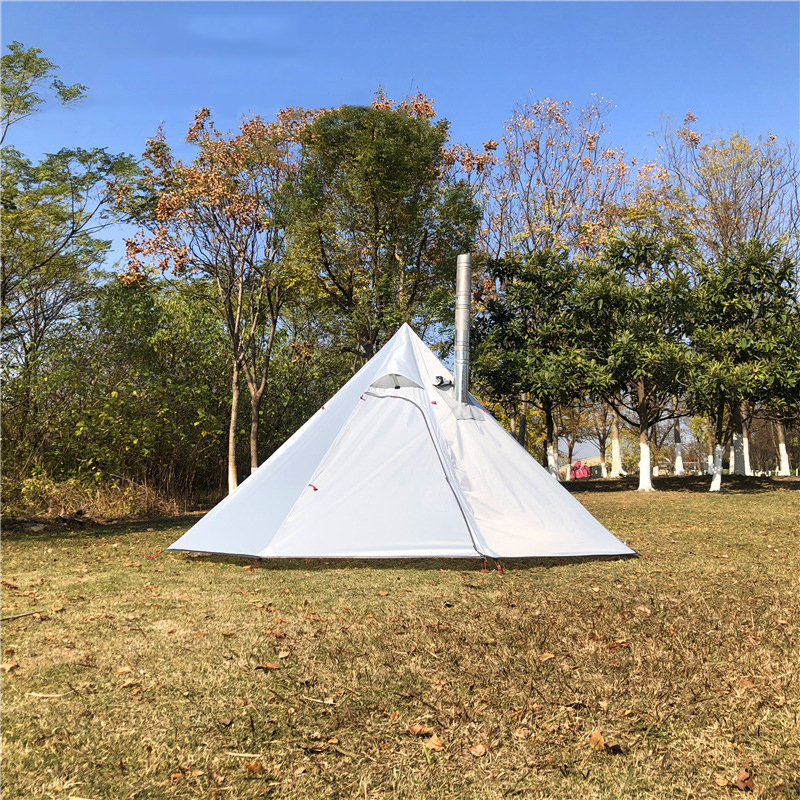 CZX-345 Stove Tent,8 Person octagon Backpacking cone tent,Mountaineering Picnic Pyramid Teepee Tent with Chimney Output