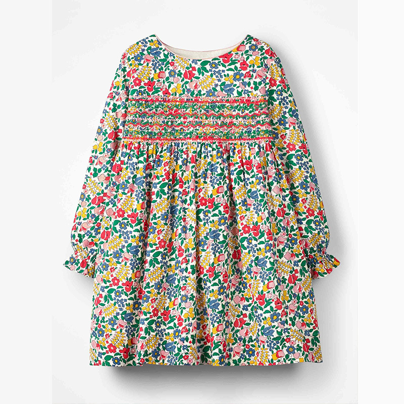 Little maven 2-7Years 2021 Autumn Bay Girls Child Toddler Flower Embroidery Pocket Dress Children Kids Tops Tees Fall clothing 5