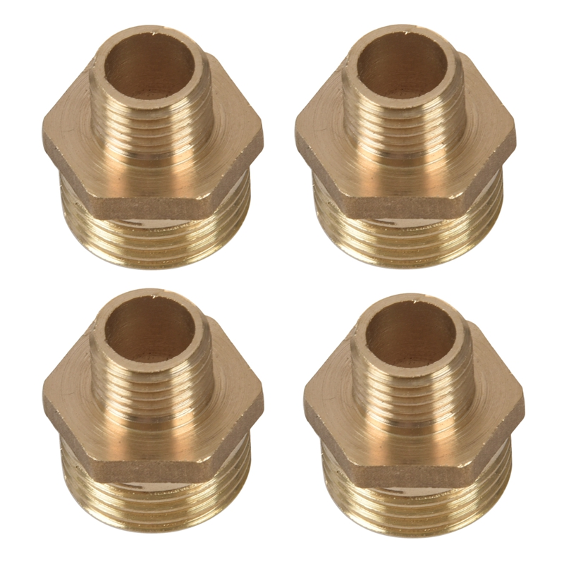 4Pcs 1//2 inch BSP to 3//8 inch SP Male Thread Brass Pipe Hex Nipple Fitting SS