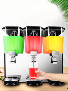 Cold Beverage Machine 18L*3 Juice Dispenser Three Tank Commercial Automatic Juicer 220V