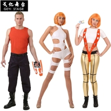 The Fifth Element Leeloo Orange Strap White Jumpsuits Movie Cosplay Cos