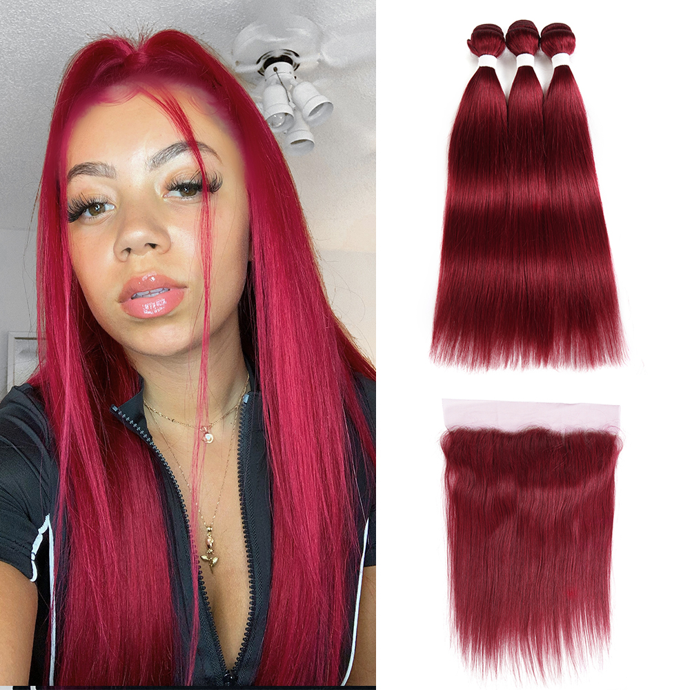 99J/Burgundy Red Color Brazilian Straight Human Hair Bundles With Frontal 13x4 KEMY Pre-Colored 3 Bundles With Closure Non-Remy