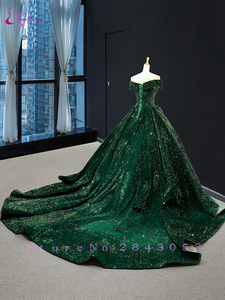 Image 5 - Waulizane Strapless Ball Gown Quinceanera Dress Of Sequin Lace Dark Green Quinceanera Gown