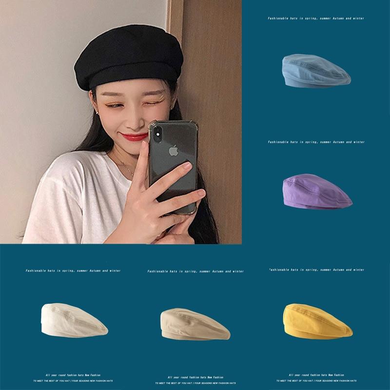 Элегантные береты в Корейском стиле для женщин 1 шт., модные головные уборы в Корейском стиле для девочек, летние и осенние шапки для девочек,...