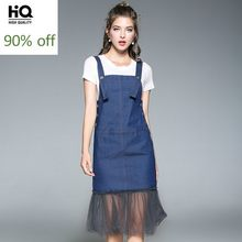 2020 Summer New Women Jeans Dress Set Knitted T-Shirt Knee Length Mesh Denim Suspender Dress Princess Party Ladies Casual Suits(China)