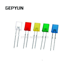 100pcs Square LED 2*5*7 White Red Blue Green Yellow Orange 2X5X7 light-emitting diode