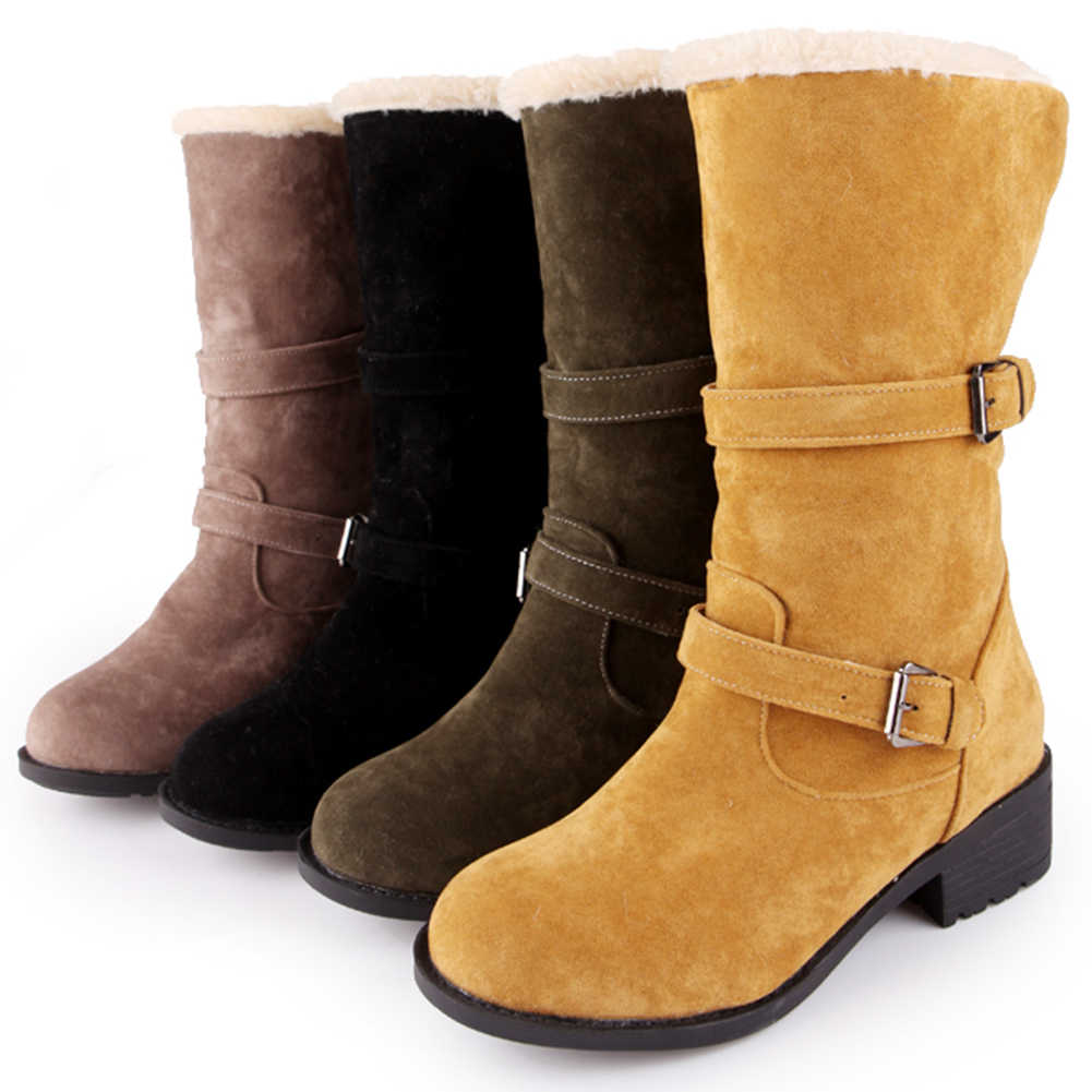 BONJOMARISA yeni kış sıcak satış 34-43 sıcak kürk çizmeler bayanlar zarif ayak bileği kar botları kadın 2020 rahat Med topuk ayakkabı kadın
