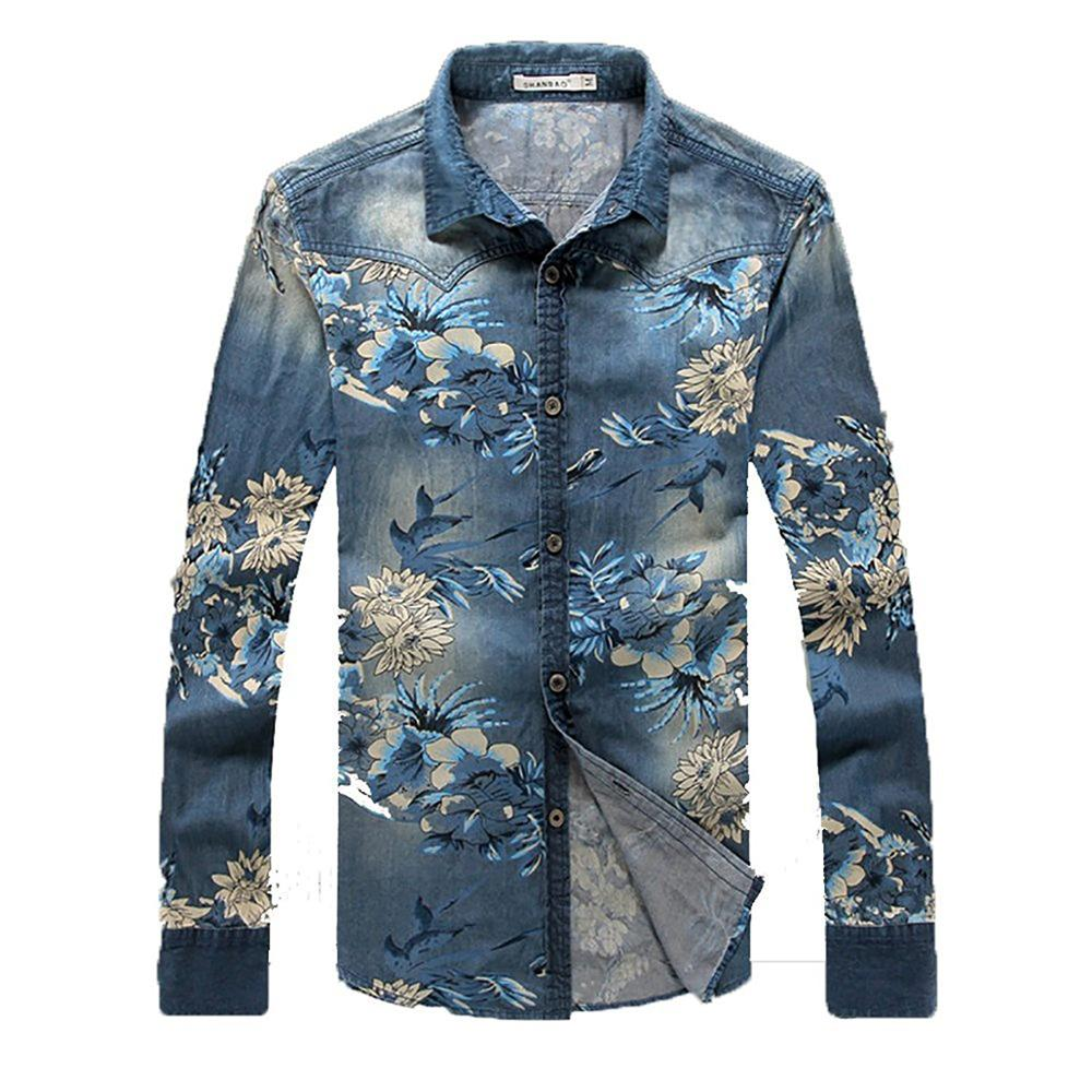 Men's Denim Long Sleeve Shirt Style Cowboy Jean Floral Printed Coat Men Cardigan Casual Slim Fit Shirts Masculine Outwear
