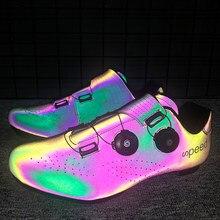 Профессиональный светящаяся обувь для велосипедов MTB велосипедная Спортивная Для мужчин самозапирающийся бутсы обувь Для женщин Для мужчи...