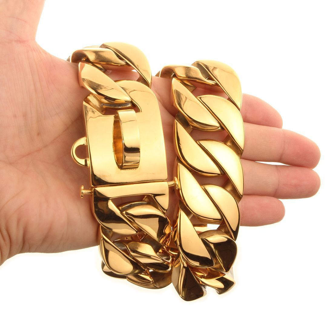 32mm Daikin Chain In Large Pet Dog Chain Necklace Neck Ring 24k Gold Stainless Steel