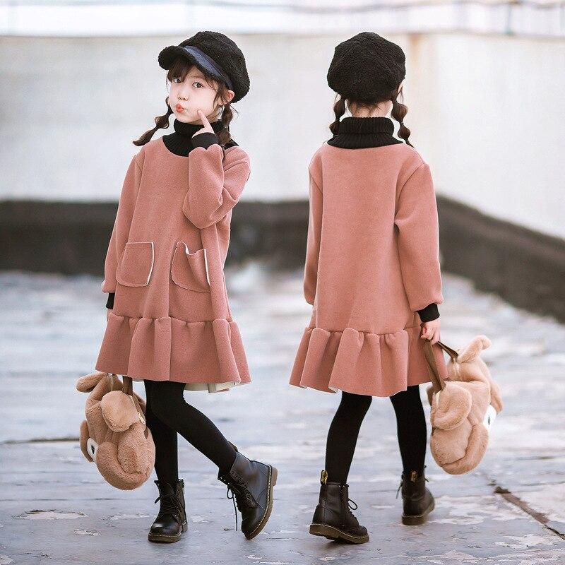 Зимнее платье для девочек флисовая водолазка, Розовые Детские платья для девочек, теплое детское платье костюм принцессы для подростков, платье 2019 от 3 до 14 лет