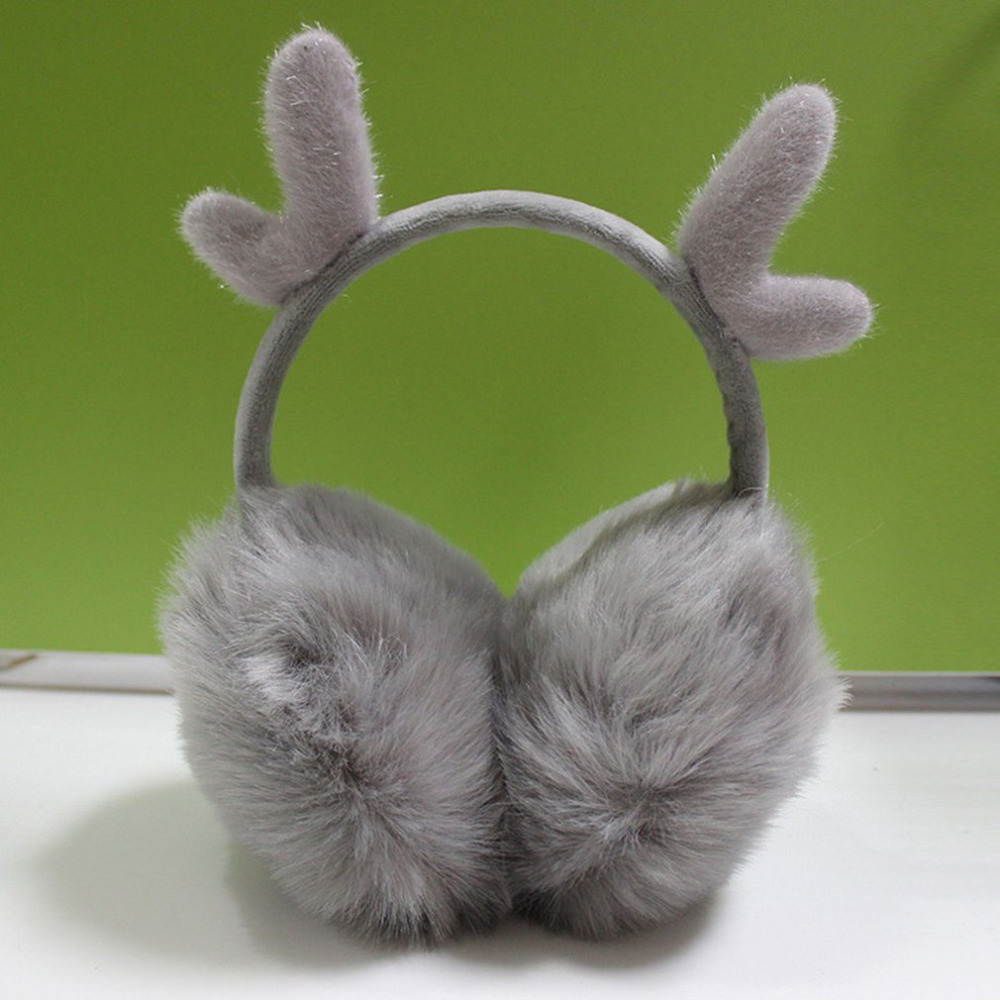 Novelty Cute Antlers Fur Winter Earmuffs For Girls Warm Earmuffs Ear Warmer Gifts For Kids Cover Ears Super Soft Plush Ear Muff