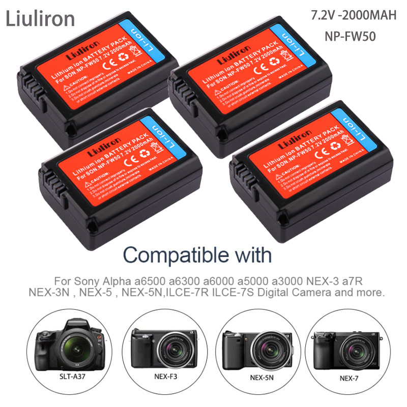 7.4v 2000mAh <font><b>NP</b></font>-<font><b>FW50</b></font> <font><b>NP</b></font> <font><b>FW50</b></font> <font><b>Battery</b></font> for <font><b>Sony</b></font> Alpha a6500 a6300 a6000 a5000 a3000 NEX-3 a7R camera accessories image