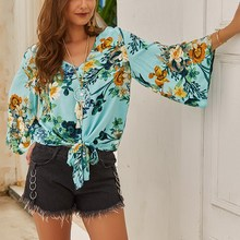 Printed Chiffon Shirt Fresh Green Attracts The Eye Early Autumn New Versatile Comfortable Beautiful Floral Knot Design