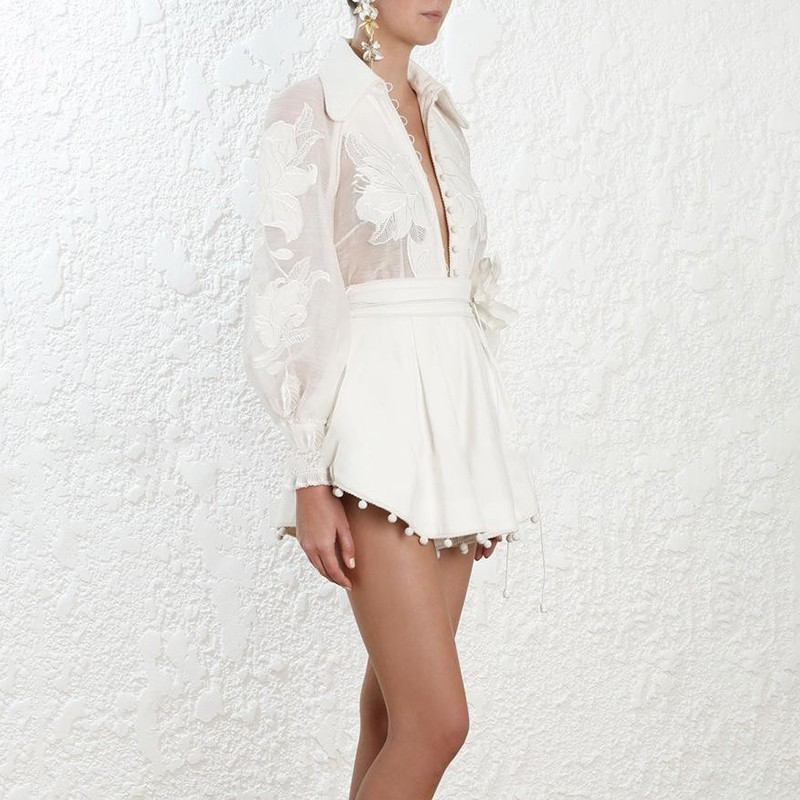 Décontracté solide femmes costume broderie Patchwork revers lanterne manches chemise pansement Shorts deux pièces ensemble mode féminine