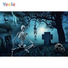 Yeele Happy Halloween Backdrop Tomb Tombstone Skeleton Night Forest Customized Vinyl Photography Backgrounds For Photo Studio