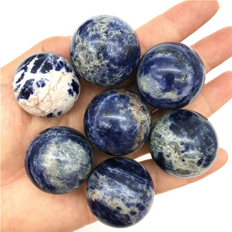 Wholesale 2 Sizes Natural Sodalite Sphere Round Crystal Ball Healing Sphere Rock Stone Natural Quartz Crystals