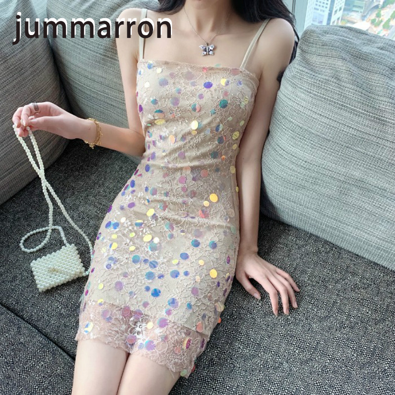 jummarron 2020 summer new ins fashion beach style sparkle Sequin suspender <font><b>dress</b></font> Fairy <font><b>Dress</b></font> sexy night club charming image
