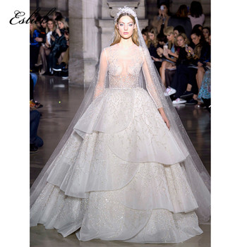 Stunning wedding dress ball gown heavy beaded lace luxurious bridal long sleeves sheer bodice sexy design