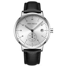 Mini foco moda masculina relógios de pulso de quartzo de luxo da marca superior relógio de pulso masculino pulseira de couro à prova dwaterproof água reloj hombre