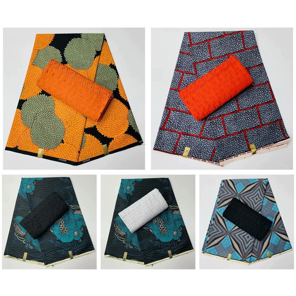Offre spéciale mariage nigérian Ankara tissu africain cire imprime coton 3 Yards + 2.5 Yards coton sec suisse voile dentelle en suisse
