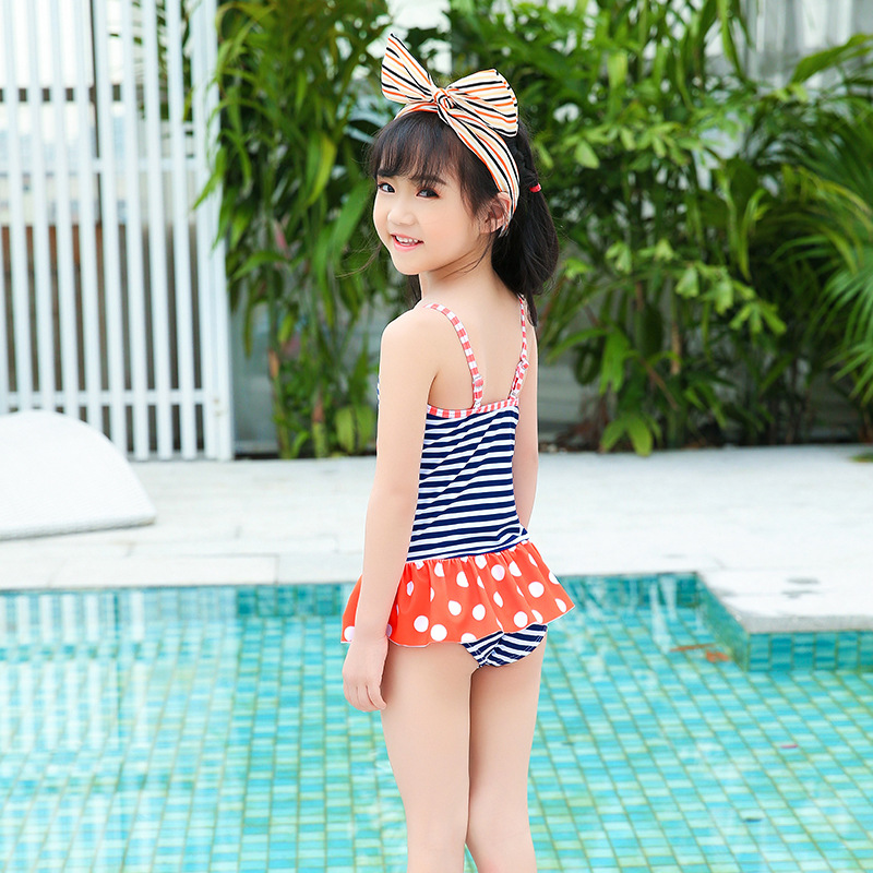 New Style KID'S Swimwear Korean-style Siamese Swimsuit Camisole Flounced Beach Hot Springs Play With Water Service Sweet Cute