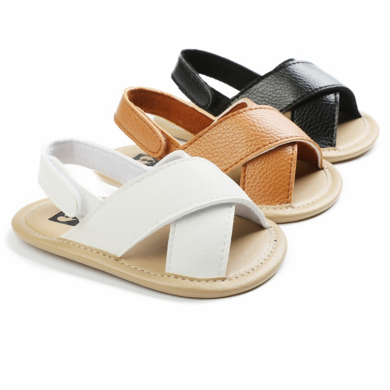 Summer New Baby Boys Sandals Cute Solid Color Infant Toddler Boys Crib Shoes Soft Sole Pu Leather Clogs