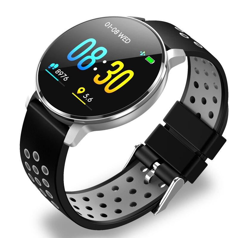 2019 Novo relógio Inteligente IP68 rastreador De Fitness monitor de freqüência cardíaca à prova d' água Homens mulheres smartwatch para Android IOS controle de Música + caixa