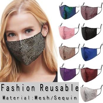 Face shield Women Sequins Cotton Masks mascarillas Washable Breathable Masker Festive Party Respirator Маска masque