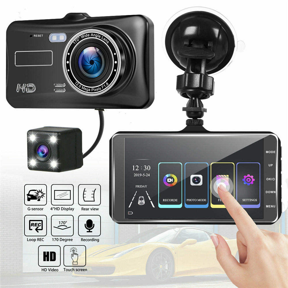 4 inch HD 1080P Dual Lens Car DVR Touch Screen Dashcam Camera Video Recorder SD Cam Night Vision Drop shipping