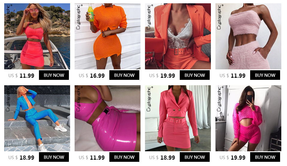 Cryptographic Fashion Outfits Bright Orange Women's Sets Buttons Long Sleeve Crop Tops Sexy Two Pieces Set Casual Bodycon Skirts 2