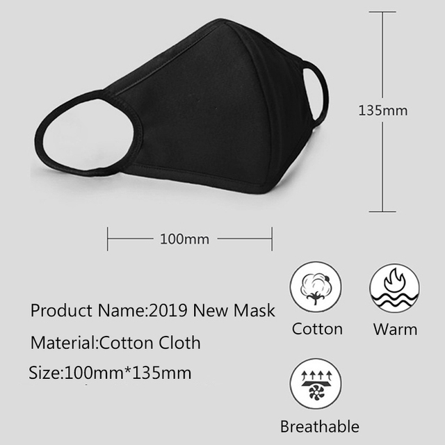 1pc Multi-Style Anime Cartoon Kpop Cotton Mouth Mask Anti dust Mouth-muffle Washable Black Mask On Face For Man Women Respirator 5