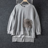 Fashion O Neck Fur Pocket Patchwork Sweatshirt Women Autumn 2019 Asymmetry Pullovers For Woman Cotton Blend Womens Sweatshirts