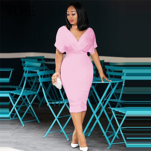 WUHE Plus Size 3XLFashion Slim Dresses for Women V Neck with Bead Classy Ladies Work Office Wear Bodycon Elegant Femme Clothes 3