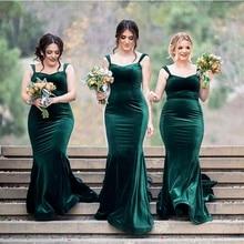 Green Mermaid Bridesmaid Dress 2020 Spaghetti Straps Velvet