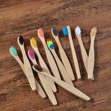 10 pacote crianças eco escova de dentes amigável cerdas macias de bambu escovas de dentes escova de dentes crianças plástico biodegradável livre escova