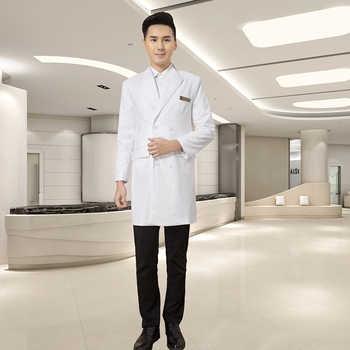 High End Korean Version Plastic Surgery Hospital Dental Stomatology Hospital Male Doctor White Gown Medium Long Suit Coat Doctor