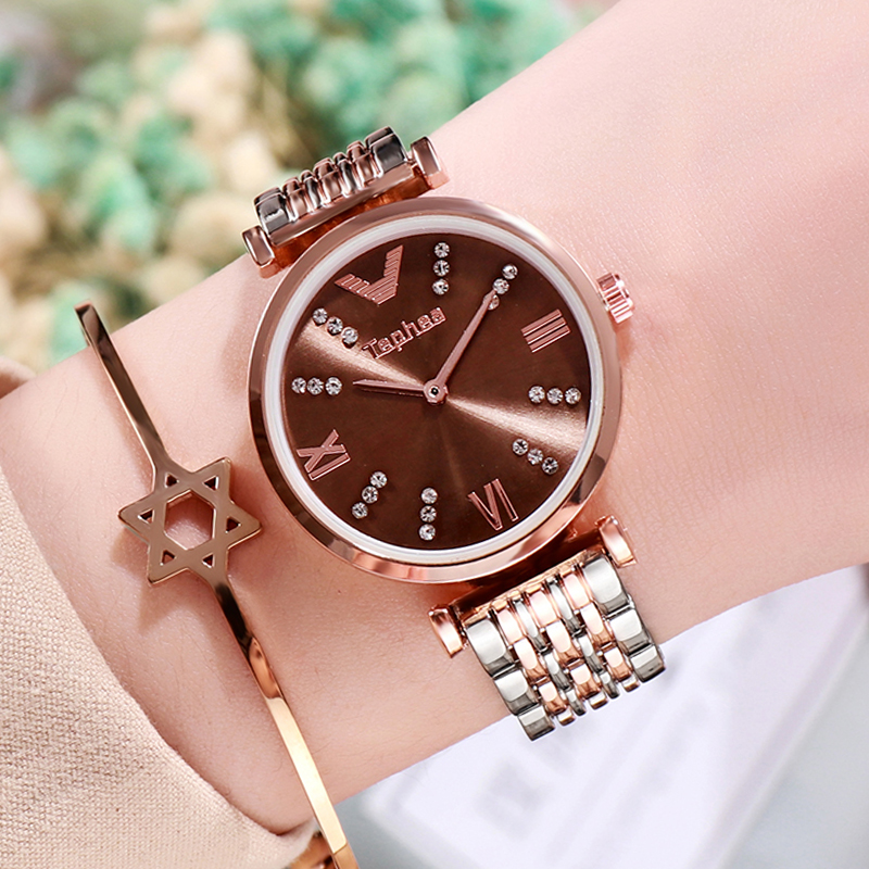 Rose Gold Watches Women Bracelet Diamond Wrist Watch For Ladies Watches Female Fashion Stainless Steel Girls Clock Tephea Xfcs