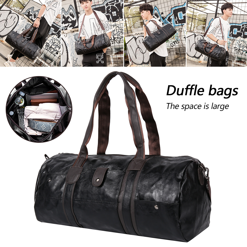 Men's Large Capacity PU Leather Sports Duffle Gym Fitness Crossbody Bags Travel Shoulder Handbag Male Bucket Sport Travel Bag