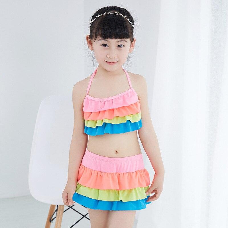 Big Boy Bathing Suit Children Split Type Than Base Skirt Briefs Comfortable 40-55 Catty Baby GIRL'S Swimsuit