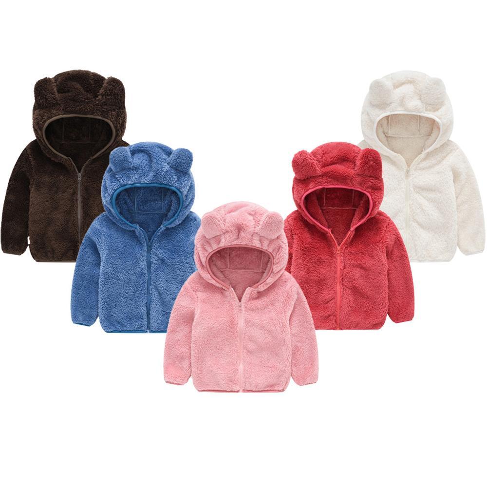 Loozykit roupas de inverno do bebê da criança do miúdo da menina menino bonito orelha manga longa jaqueta com zíper sólido grosso algodão casaco com capuz roupas quentes
