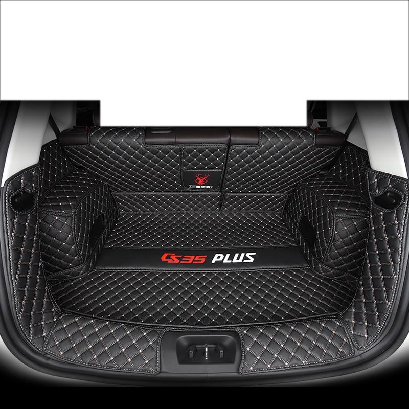 Lsrtw2017 pour changan cs35 plus tapis de coffre de voiture en cuir fibre portable doublure de cargaison 2017 2018 2019 2020 tapis de coffre de bagages