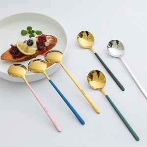 Цветная ложка для супа, столовая ложка из нержавеющей стали с длинной ручкой, десертная ложка для кухни, посуда, кофейная ложка