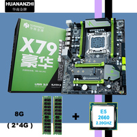 Alle getest nieuwe HUANAN V2.49 X79 moederbord CPU RAM combo X79 LGA2011 moederbord Xeon E5 2660 C2 geheugen (2 * 4G) 8G DDR3 REG ECC