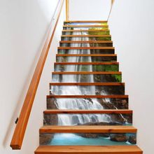 13pcs/set 3D Stair Riser Floor Stickers Waterproof Removable Self Adhesive DIY Stairway Decals Murals Home Decor undersea fishes stair riser stickers