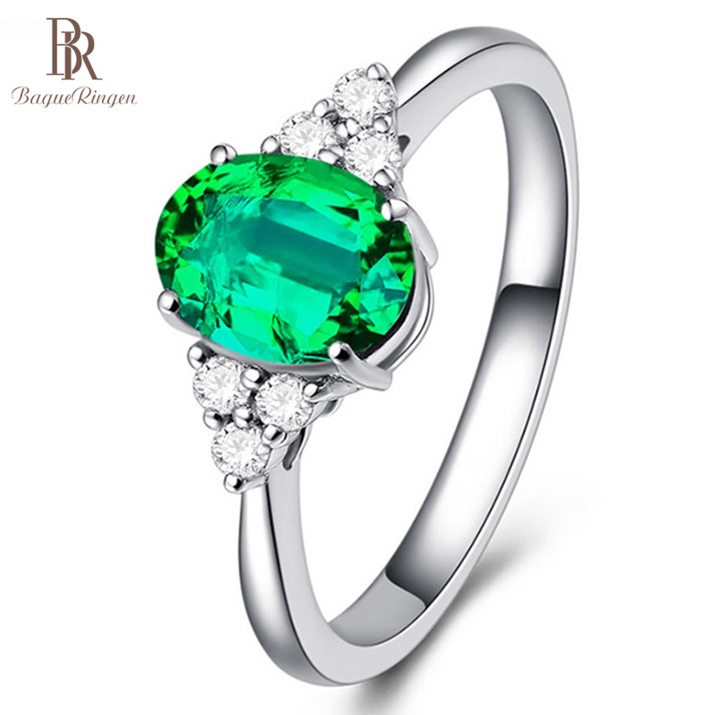 Bague Ringen New Design Ring Silver Jewelry Zircon inlaid finger rings adjustable opening emerald green Color Gemstone Women