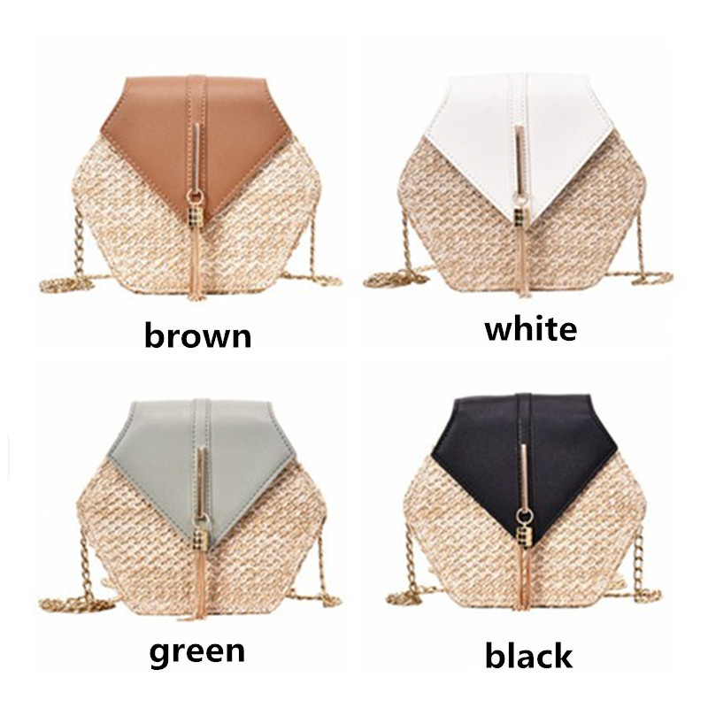 Woven Hexagon Straw Travel Bag with Chain Shoulder Strap for Summer 2021